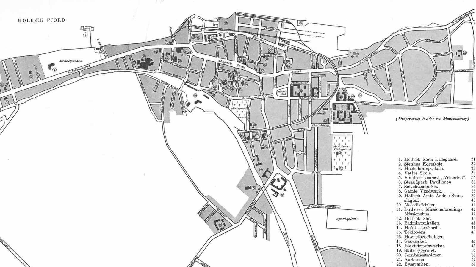 Udsnit af kort over Holbæk