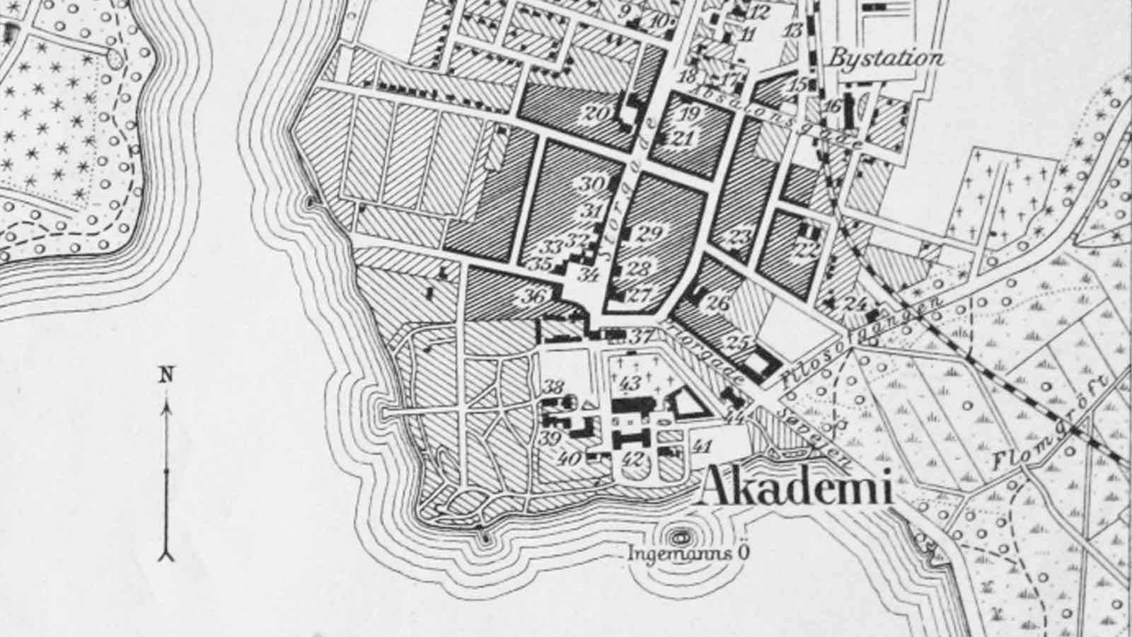 Udsnit af bykort over Sorø 1921